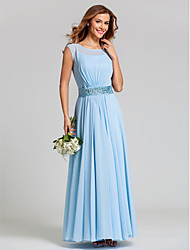 Lanting Ankle-length Chiffon / Stretch Satin Bridesmaid Dress - Sky Blue Plus Sizes / Petite A-line Scoop