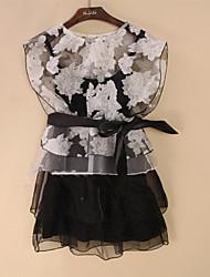 Weiman organza vestido de dos piezas de un conjunto (Negro)