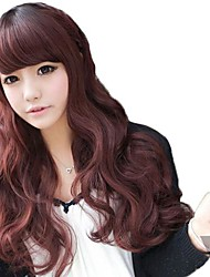 Dark Brown Side Bang Synthetic Long Wavy Wigs