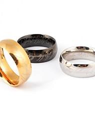 Anéis Forma Redonda Pesta / Diário / Casual Jóias Aço Titânio Feminino / Masculino7 / 8 / 9 / 10 / 11 / 12 Dourado / Preto / Prateado
