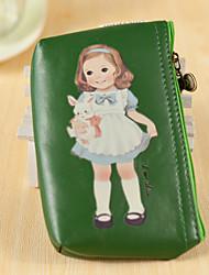 Cartoon Doll Pattern PU Leather Change Purse(Green, 1 PCS)