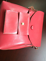 Qingwu Fashion Genius Leder Solid Color Lässige Umhängetasche (Red)
