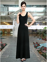 Ärmelloses Scoop Neck Ladies Long Black Casual Dress