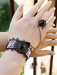 Estilo Retro Blanco y Negro Lace Gothic Lolita Pulsera con anillo