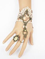 Champagne Rose rosa de encaje Sweet Lolita pulsera con el anillo de la piedra preciosa