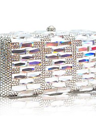 Silver Color Handmade Austrian Crystal Evening Clutch Purse Cocktail Bag