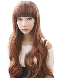 Fashion Curly Hair Long Wavy Light Brown Synthetic Full Bang Wigs