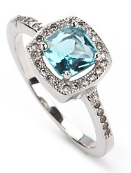 Fashion 925 Silver Plated Copper Blue Zircon Ring