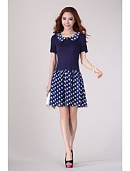 Talles para las mujeres collar de la muñeca manga corta vestidos