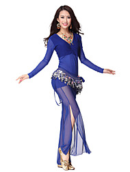 Dancewear Women's Sheer V Neck Nylon & Tulle Belly Dance Outfits With Coin Belt (More Colors,Top & Pants)