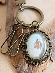 Flower Shaped Pendant Bronze Key Ring with Hide Rope