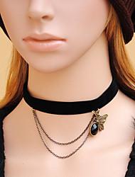 Estilo Retro Negro Gema artificial Gothic Lolita collar