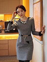 Primavera Mujer Oficina de señora Slim de manga larga Vestido con cinturón