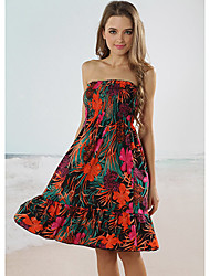Beach Girl Strapless Floral Print Wrap Beach Dress