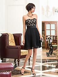 TS Couture® Cocktail Party / Holiday Dress - Black Plus Sizes / Petite A-line Sweetheart Short/Mini Chiffon / Lace