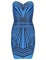 Venta caliente azul imprimió el vestido del vendaje atractivo sin tirantes