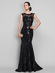 Mermaid / Trumpet Scoop Neck Sweep / Brush Train Tulle Sequined Formal Evening Military Ball Dress with Beading Appliques by TS Couture®