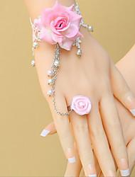 Pink Rose White Lace Sweet Lolita Pulsera con anillo