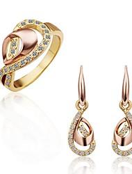 Women's 18K Rose Gold Droplets Pattern (Earrings&Rings) Jewelry Sets