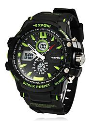Multifuncional Ronda Hombres Dial Rubber Band LCD reloj de pulsera digital