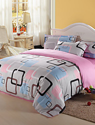 Duvet Cover Set,4-Piece 100%Cotton Reactive Printed Multicolor Check