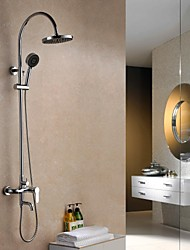 Contemporary Rain Shower Chrome Finish  Brass Three Holes Single Handle Shower Faucet Set