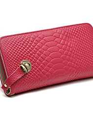 Mega Crocodile Pattern Leather Zipper Wallet Long Section (Fuchsia)