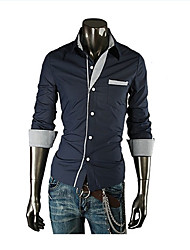 HZLT Classic Four Colors  Stripes Stereoscopic Slim  Men'S Long Sleeve Shirt (Navy Blue)