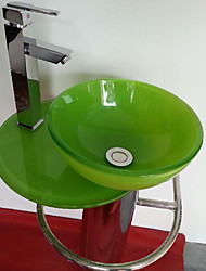 Contemporary Colourful Round Tempered Glass Vessel Sink With Bathroom Sink with Bathroom Water Drain and Bathroom Faucet
