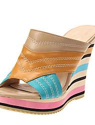 Leatherette Women's Wedge Heel Platform Sandals Shoes