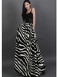 Verragee Zebra Pattern Thin High-Waist Skirt