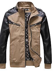 Homens de correspondência de cores jaqueta de manga PU Leather