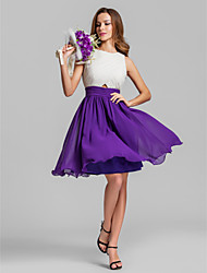 Lanting Bride® Short / Mini Georgette Bridesmaid Dress - A-line Jewel Plus Size / Petite with Criss Cross / Ruching