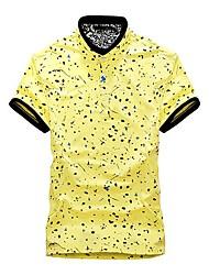 Los hombres de cuello V Fauna impresión de color sólido T-Shirts