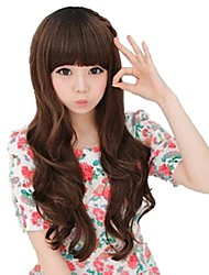 Fashion Capless Long Wavy Light Brown Synthetic Full Bang Wigs