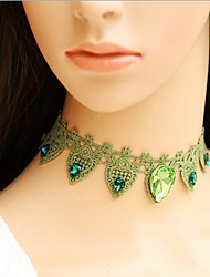 Hecho a mano El mago de Oz Princesa verde del estilo del cordón de Lolita dulce collar