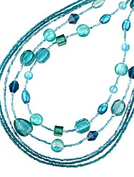 contas forma azul de vidro longo colar