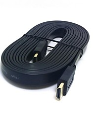 HDMI 3D 1.4 Male to Male Flat Slim HDTV 1080p Video Audio Cable 1.5m 5ft Black With Ethernet Function