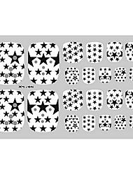 22PCS Schwarz White Stars Punk Zehennagel-Kunst-Aufkleber XJ Sery No.42