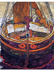 Hand Painted Oil Painting Abstract A Trieste Fishing Boat with Stretched Frame Ready to Hang