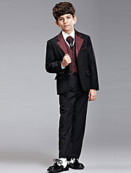 Seven Pieces Burgundy Ring Bearer Suit Tuxedo