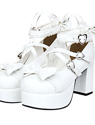 Sapatos Doce Princesa Plataforma Sapatos Laço 8 CM Branco Para Feminino Couro PU/Couro de Poliuretano