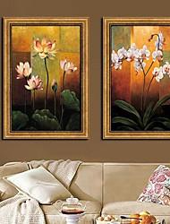 Fleur Floral / Botanical Framed Canvas Classique Imprimer Lot de 2
