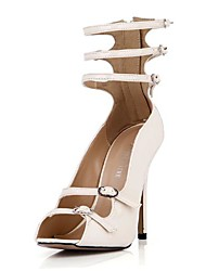 Women's Shoes Patent Leather Spring / Summer / Fall Heels / Peep Toe Dress Stiletto Heel Buckle Ivory