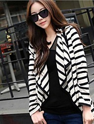 Womens Casual Black White Stripe Irregular Cardigan