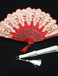 Asian Theme Gold Flower Pattern Hand Fan with Pendant (More Colors)