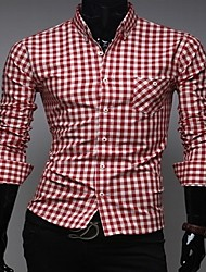 Men's Stylish Check Pattern Slim Shirt