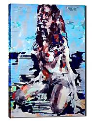 peinture à l'huile peinte à la main femme des gens avec cadre étiré