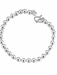 Fashion 17 cm Changyin Imitation Rhodium Glossy White Gold Bead Bracelet Child