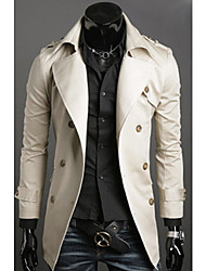 Men's Korean Style Slim Fit Double Breasts Trench Coat